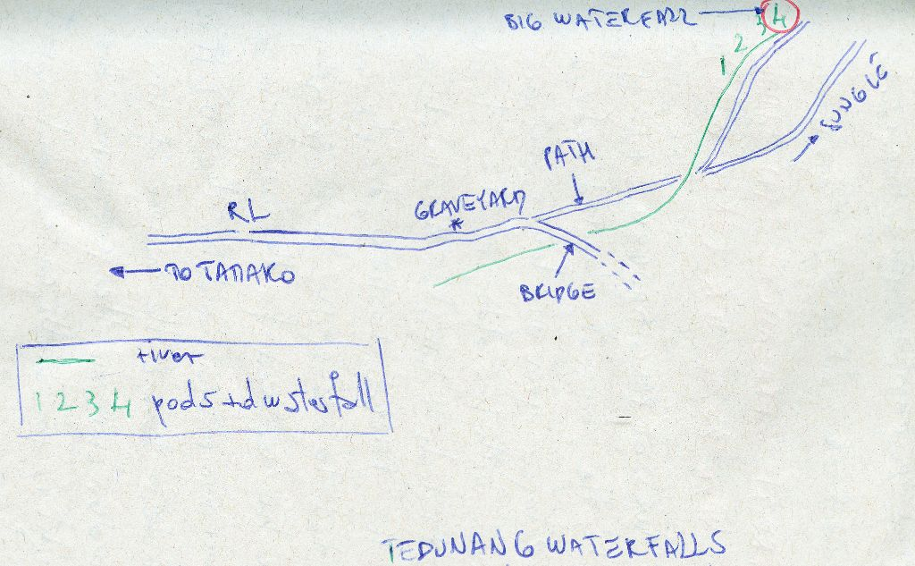 Tedunang Waterfalls: a map